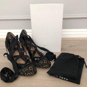 Marc Jacobs Lace Up Ballet Black Gold Lace Heels